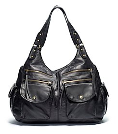 GAL Pearlized Washed Multi Pocket Double Handle Shoulder Bag