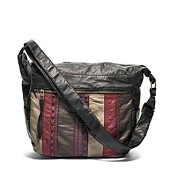 GAL Washed Stripe With Lacing Hobo Crossbody