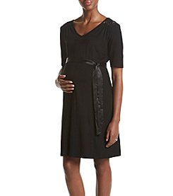 Three Seasons Maternity™ Lace Yoke Solid Dress