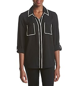 Relativity® Contrast Trim Solid Blouse