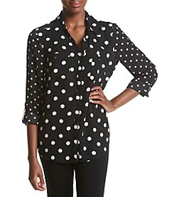 Relativity® Roll Sleeves Printed Blouse