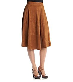 Relativity® Faux Suede Midi Skirt