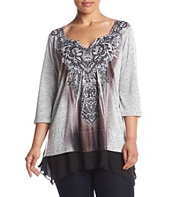 Oneworld® Plus Size Print Top With Chiffon Hem