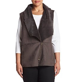 Cupio Plus Size Faux Suede Pieced Vest