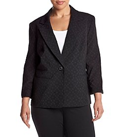 Nine West® Plus Size Printed Ruched Sleeve Jacket