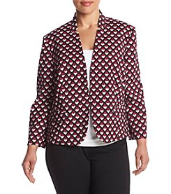Nine West® Plus Size Printed Twill Kiss Front Jacket