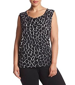 Nine West® Plus Size Printed Drape Neck Top