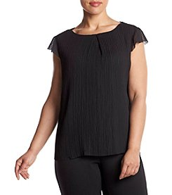 Nine West® Plus Size Pleated Ruffle Top