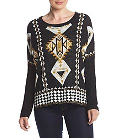 Relativity® Patterned Border Pullover Sweater