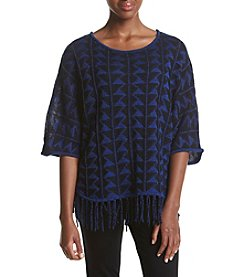 Relativity®  Chevron Pattern Fringe Sweater