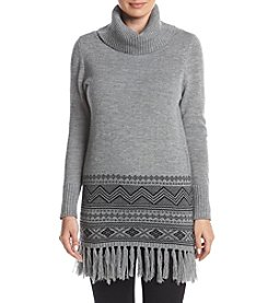 Relativity® Long Sleeve Fringe Border Cowlneck Dress