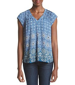 Black Rainn™ Multi Print Pleated Shoulder Top