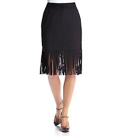 Chelsea & Theodore® Faux Suede Fringe Skirt
