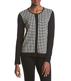 August Silk® Houndstooth Crew Neck Cardigan