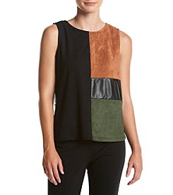 Cupio Color Block Faux Suede Ponte Tank