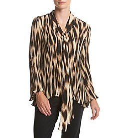 Cupio Printed Pleated Bow Top