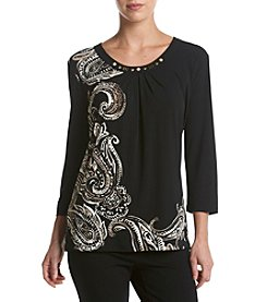 Alfred Dunner® Placed Paisley Print Knit Top
