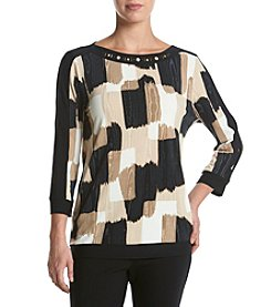 Alfred Dunner® Etched Boxes Knit Top