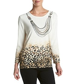 Alfred Dunner® Animal Print Texture Sweater With Necklace