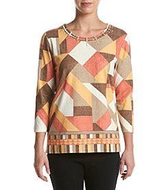Alfred Dunner® Patchwork Border Print Knit Top
