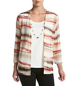 Alfred Dunner® Water Color Cardigan And Top Set With Necklace