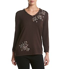 Alfred Dunner® Floral V-Nect Sweater