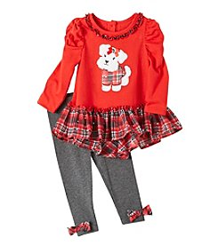 Nannette® Baby Girls' 2-Piece Plaid Ruffle Tunic and Leggings Set