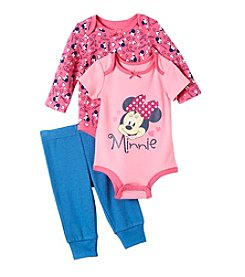 Nannette® Baby Girls' 3-Piece Minnie Bodysuit Set
