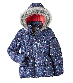 Hawke & Co. Girls' 7-16 Fur Trim Puffer Jacket
