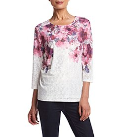 Alfred Dunner® Petites' Veneto Watercolor Floral Yoke Top