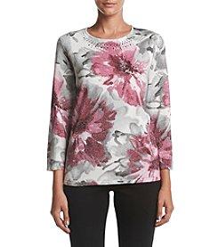 Alfred Dunner® Petites' Veneto Floral Shimmer Sweater