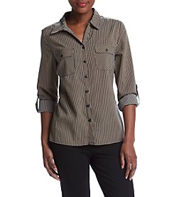 Studio Works® Petites' Y-Neck Striped Utility Shirt