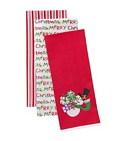 LivingQuarters Snowman And Presents Three-Pack Kitchen Towel Set