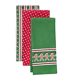 LivingQuarters Gingerbread Three-Pack Kitchen Towel Set