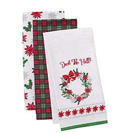 LivingQuarters Deck The Halls Three-Pack Kitchen Towel Set