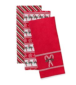 LivingQuarters Candy Cane Three Pack Kitchen Towel Set