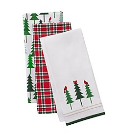 LivingQuarters Happy Holidays Three-Pack Kitchen Towel Set