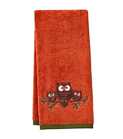 LivingQuarters Owls On Branch Embossed Hand Towel