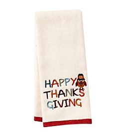 LivingQuarters Happy Thanksgiving Owl Embossed Hand Towel