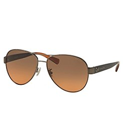 COACH UPTOWN LOGO RIVET AVIATOR SUNGLASSES