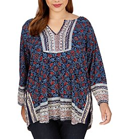 Lucky Brand® Plus Size Block Floral Print Top