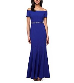Alex Evenings® Cold Shoulder Fit And Flare Gown Dress