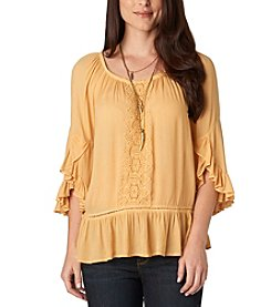 Democracy Flamenco Sleeve Woven Top