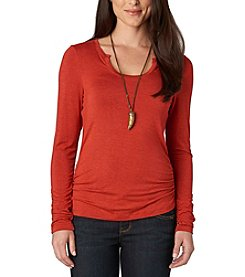 Democracy Horseshoe Neck Ruched Top