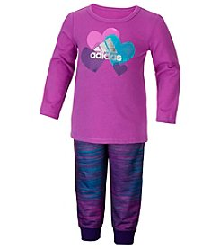 adidas® Baby Girls' 2-Piece Heart Top And Joggers Set