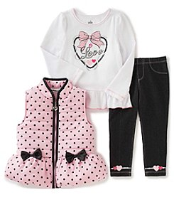 Kids Headquarters® Baby Girls' 3-Piece Bow Vest Set