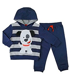 Nannette® Baby Boys 2-Piece Puppy Hoodie And Joggers Set