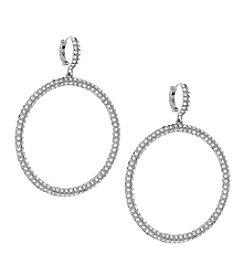 Vince Camuto® Silvertone Pave Huggie Hoop Earrings