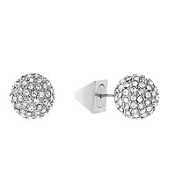 Vince Camuto™ Silvertone Pave Ball Stud Earrings