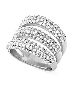 Vince Camuto™ Silvertone Pave Three Row Ring